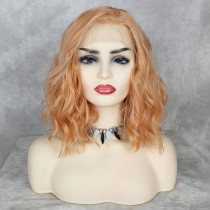 ReadyWig Sweet Orange Wavy Short Hair Synthetic Lace Front Wig 16 Inches