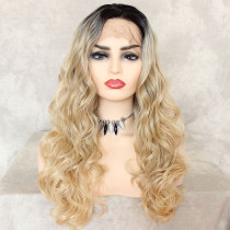 ReadyWig Blonde Wavy Dark Roots Synthetic Lace Front Wig 24 Inches