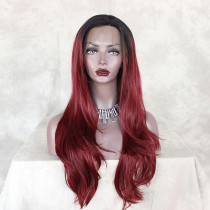ReadyWig Red Color Natural Straight Synthetic Lace Front Wig 22 Inches