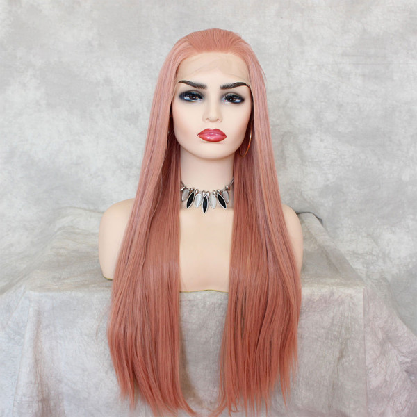 ReadyWig Pink Silky Straight Synthetic Lace Front Wig 22 Inches