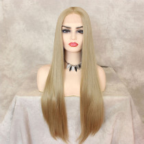 ReadyWig Platinum Blonde Silky Straight Synthetic Lace Front Wig 22 Inches