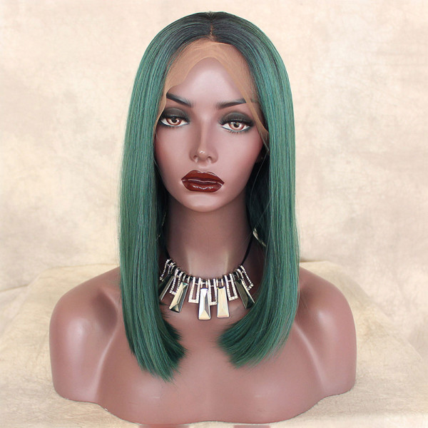 ReadyWig Green Bob Dark Roots Short Hair Synthetic Lace Front Wig 16 Inches