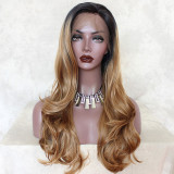 Golden Brown Ombre Lace Front Wigs for African American Women Dark Rooted Ombre Honey Blonde Wavy Wig
