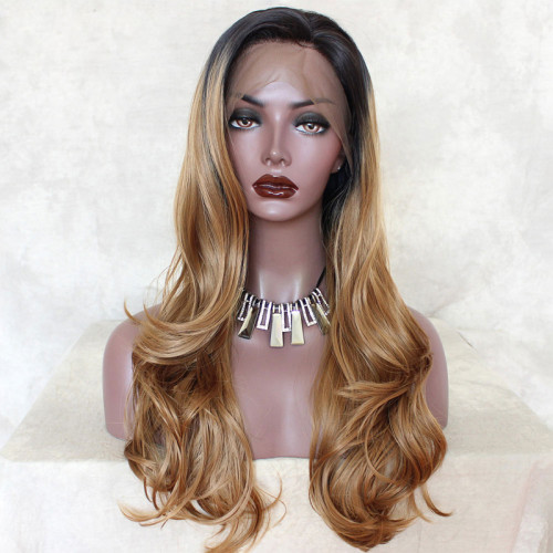ReadyWig Dark Blonde Long Wavy Synthetic Lace Front Wig 24 Inches