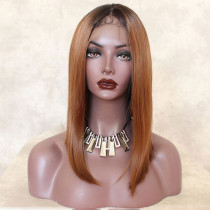 ReadyWig Brown Dark Roots Short Hair Synthetic Lace Front Wig 16 Inches