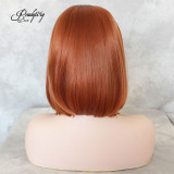 Short Style Lace Front Wigs Copper Orange Natural Straight Synthetic Hair Side Part Heat Resistant Synthetic Full Wig for Women Girls