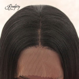 Straight Long Silky Black Wig Half Hand Tied Heat Friendly Heavy Density Synthetic Lace Front Wig