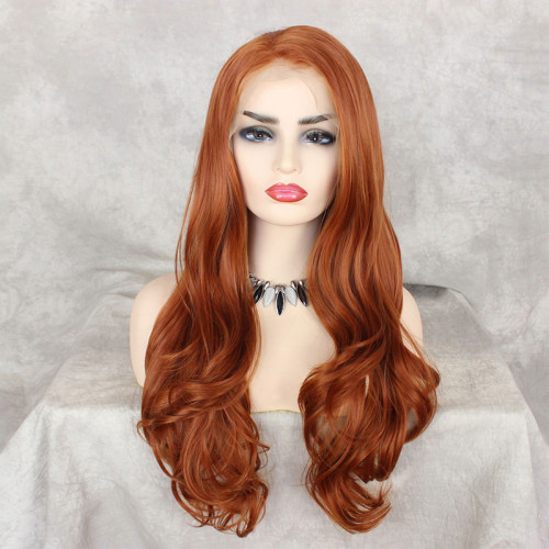 Readywig Orange Wavy Side Part Synthetic Lace Front Wig 24 inches