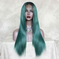 Readywig Green Silky Dark Roots Straight Synthetic Lace Front Wig 22 Inches