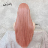 Pink Silky Straight Synthetic Lace Front Wig