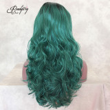 Wavy Long Green Half Hand Tied Heat Resistant Heavy Density Synthetic Lace Front Wig