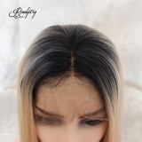 Ash Blonde Lace Front Wigs Short Short Glueless Natural Straight Half Hand Tied Heat Resistant Synthetic Hair
