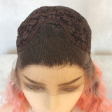 Ombre Pink Short Wavy Lace Wig Short Synthetic Lace Front Wigs Auburn Ombre Mixed Color Short Lace Wigs