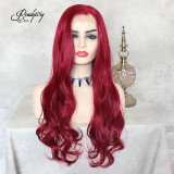 13x6 Lace Wigs Synthetic Hair with Baby Hair Pre Plucked Hairline for Women 130% Density