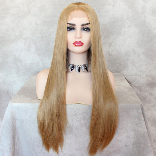 ReadyWig Honey Blonde Silky Straight Synthetic Lace Front Wig 22 Inches