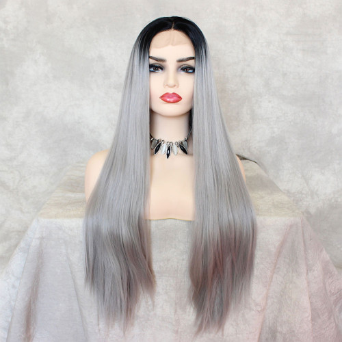 ReadyWig Grey Silky Dark Roots Straight Synthetic Lace Front Wig 22 Inches