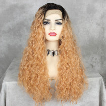 ReadyWig Sweet Orange Water Wave Synthetic Lace Front Wig 24 Inches