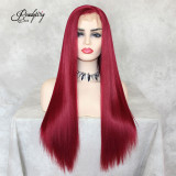 Pre Plucked 13x6 Lace Front Wig Synthetic Hair with Baby Hair or Red Women