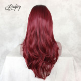 Red Hair Wig, Natural Straight Wig, Synthetic Lace Front Wig