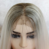 White-grey Straight Hair 13*6 Lace Front Synthetic Wig 24 Inches