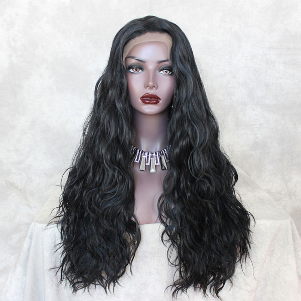 ReadyWig Black Long Wavy Synthetic Lace Front Wig 24 Inches