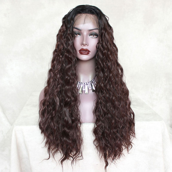 ReadyWig Brown Loose Curly Synthetic Lace Front Wig 24 Inches