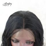 Short Wavy Lace Front Wigs 130 Density  Natural Black Color