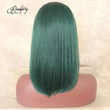 2 Tones Black Roots Natural Straight Wigs Ombre Green Lace Front Synthetic wig For Women Heat Resistant Fiber Hair Half Hand Tied