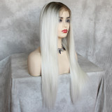 long grey lace wig with pre-plucked hairline and transparent lace