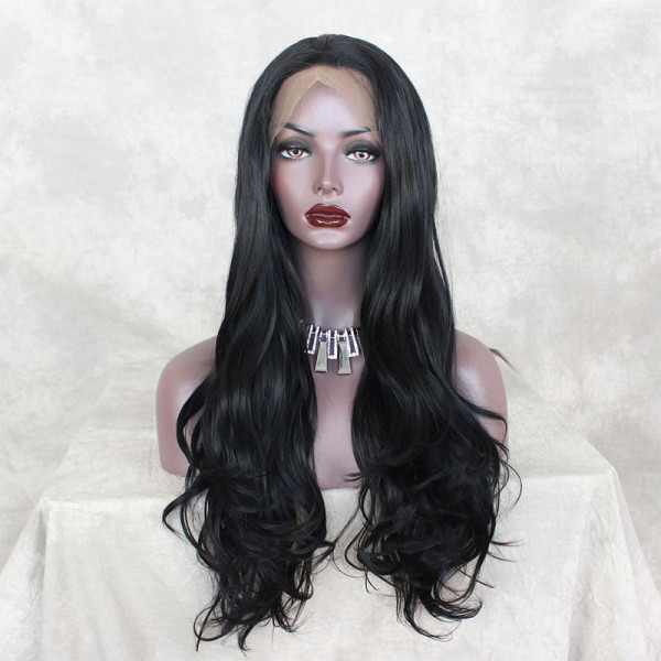 ReadyWig Black Wavy Side Part Synthetic Lace Front Wig 24 Inches