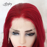 Red Lace Front Wig Natural Looking Silky Straight Free Parting Heat Resistant Lace Glueless Fiber Wig
