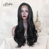Long black wavy wig Body wave Black hair side part Synthetic Lace Front Wigs For Women