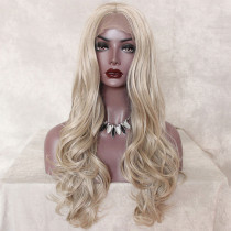 ReadyWig Platinum Blonde Wavy Synthetic Lace Front Wig Center Part 24 Inches