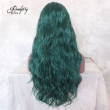 Dark Green Loose Wavy Dark Roots Synthetic Lace Front Wig