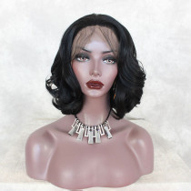 ReadyWig Black Wavy Bob Short Hair Synthetic Lace Front Wig 12 Inches