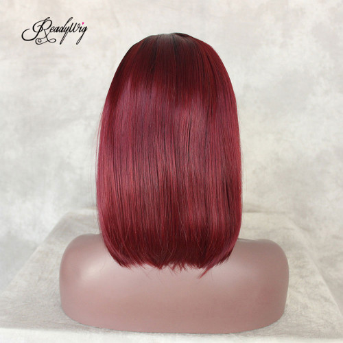 ReadyWig Red Color Bob Dark Roots Short Hair Synthetic Lace Front Wig 16 Inches