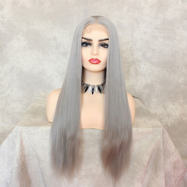 ReadyWig Grey Silky Straight Synthetic Lace Front Wig 22 Inches