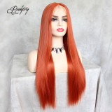 Hand Tied 13x6 Lace Wigs Synthetic Hair with Baby Hair Pre Plucked Hairline for Women 130% Density