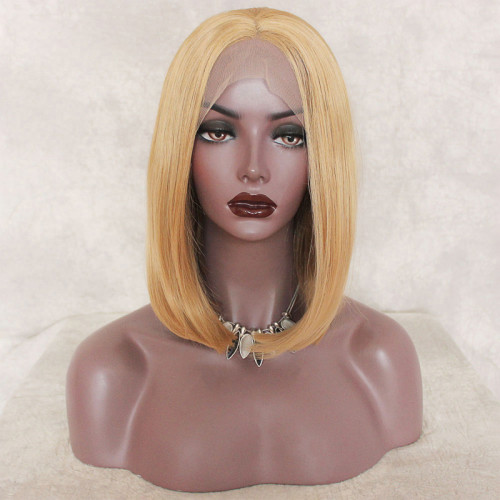 Readywig Golden Blonde Short Hair Synthetic Lace Front Wig 16 Inches