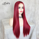Red Lace Front Wig Natural Looking Body Wavy Free Parting Heat Resistant Lace Glueless Fiber Wig