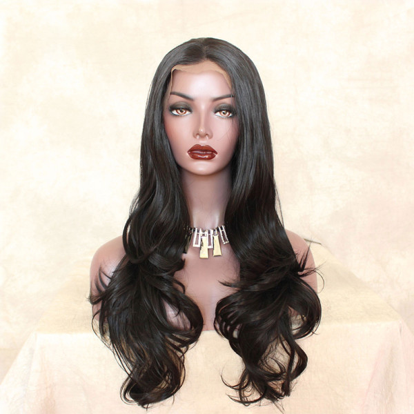 ReadyWig Black Body Wave Center Part Synthetic Lace Front Wig 24 Inches