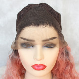 Curly Hair Wig Short Cut Lace Front Wigs Synthetic 2 Tones Color Dark Roots Pastel Pink Ombre Afro Curly Style Half Hand Tied Glueless Lace Wig for Women