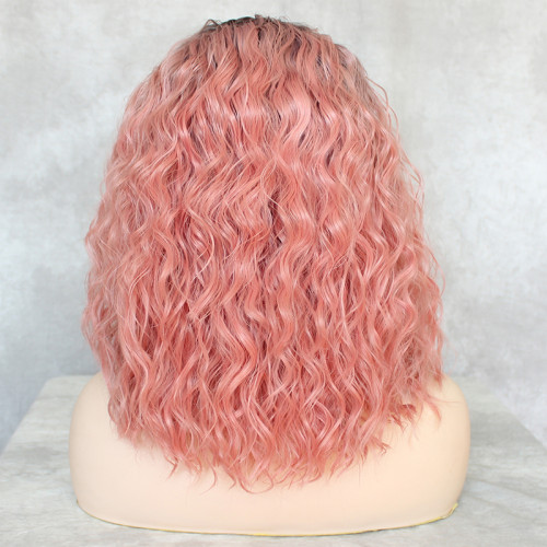 ReadyWig Pink Water Wave Dark Roots Short Hair Synthetic Lace Front Wig 16 Inches