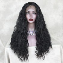 ReadyWig Black Silky Loose Curly Hair 13*6 Synthetic Lace Front Wig 22 Inches
