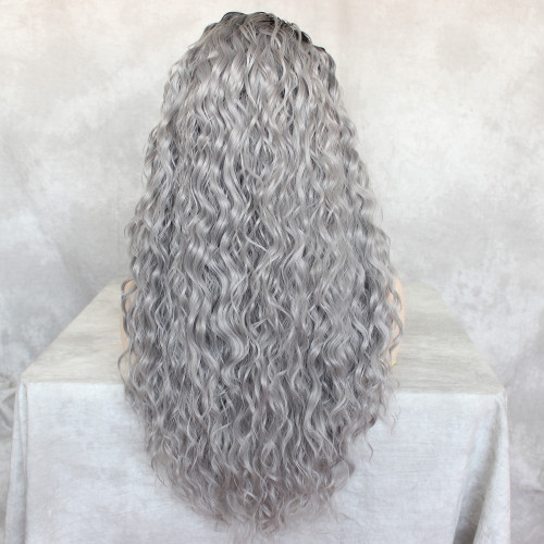 ReadyWig Grey Loose Curly Synthetic Lace Front Wig 24 Inches with Dark Roots