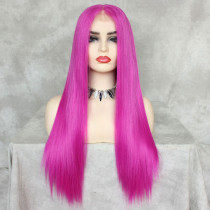 ReadyWig Neon Pink Silky Straight Hair 13*6 Synthetic Lace Front Wig 22 Inches