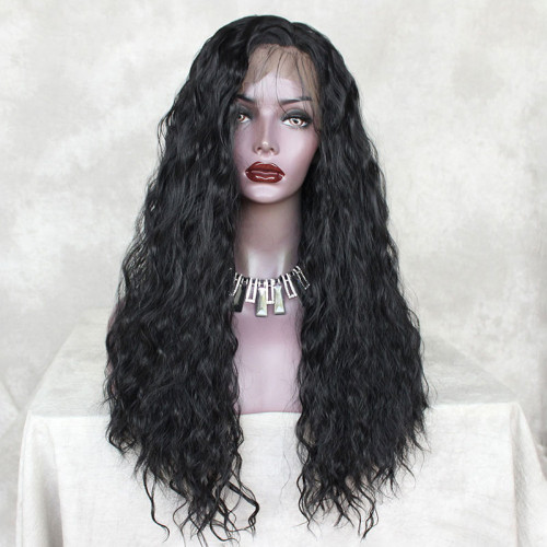 ReadyWig Black Silky Loose Curly Synthetic Lace Front Wig 22 Inches