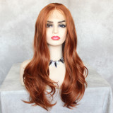 ReadyWig Orange Long Wavy Synthetic Lace Front Wig 24 Inches