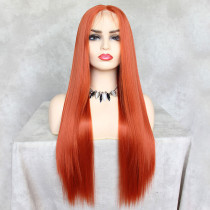 ReadyWig Bright Orange Straight Hair 13*6 Synthetic Lace Front Wig 24 Inches
