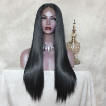 ReadyWig Black Straight Hair 13*6 Synthetic Lace Front Wig 24 Inches